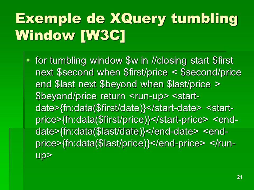 Exemple de XQuery tumbling Window [W3C]